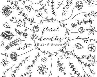 Floral elements floral hand drawn decoration clipart floral clip art doodles flowers wedding clipart sketch lines lineart blacklines leaves
