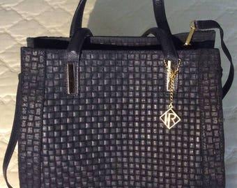 IR Italian Leather Woven Cross Body Clutch Bag