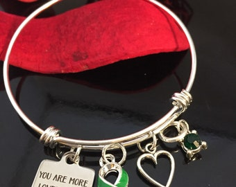 Green Ribbon Charm Bracelet / You are Loved / Adrenal Liver Cancer, Cerebral Palsy, Mental Illness , Mitochondrial disease, Gastroparesis