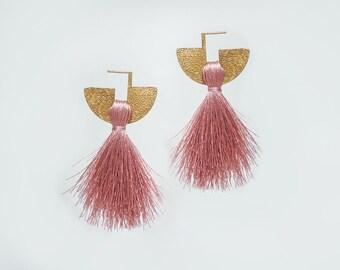 Pink Tassel Earrings Fan Earrings Fan Tassel Earrings Bold Earrings Statement Jewelry Stud Earrings Art Deco Earrings Gift for Her/ ELEONORA