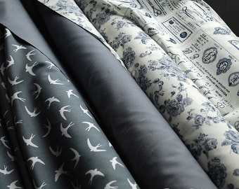 Beautiful Greys - 100% Cotton Poplin Fabric - Vintage style roses, sewing print, swallows and plain.  UK Seller - Sewing Projects, Quilting