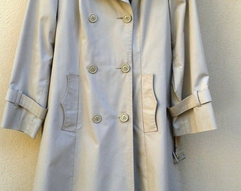 Vintage#70s#Mac#Trench Coat# 1970s Women's trench coat Sand #1970s#VINTAGE#CoAT#Small  S 36 DoubleButtoned Belted