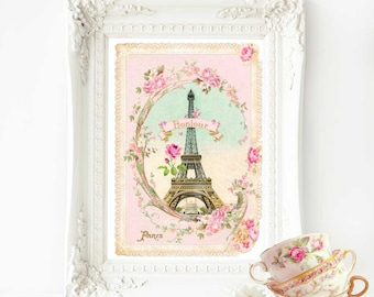 Eiffel Tower French art print, bonjour Paris, pink vintage home decor, A4 giclee