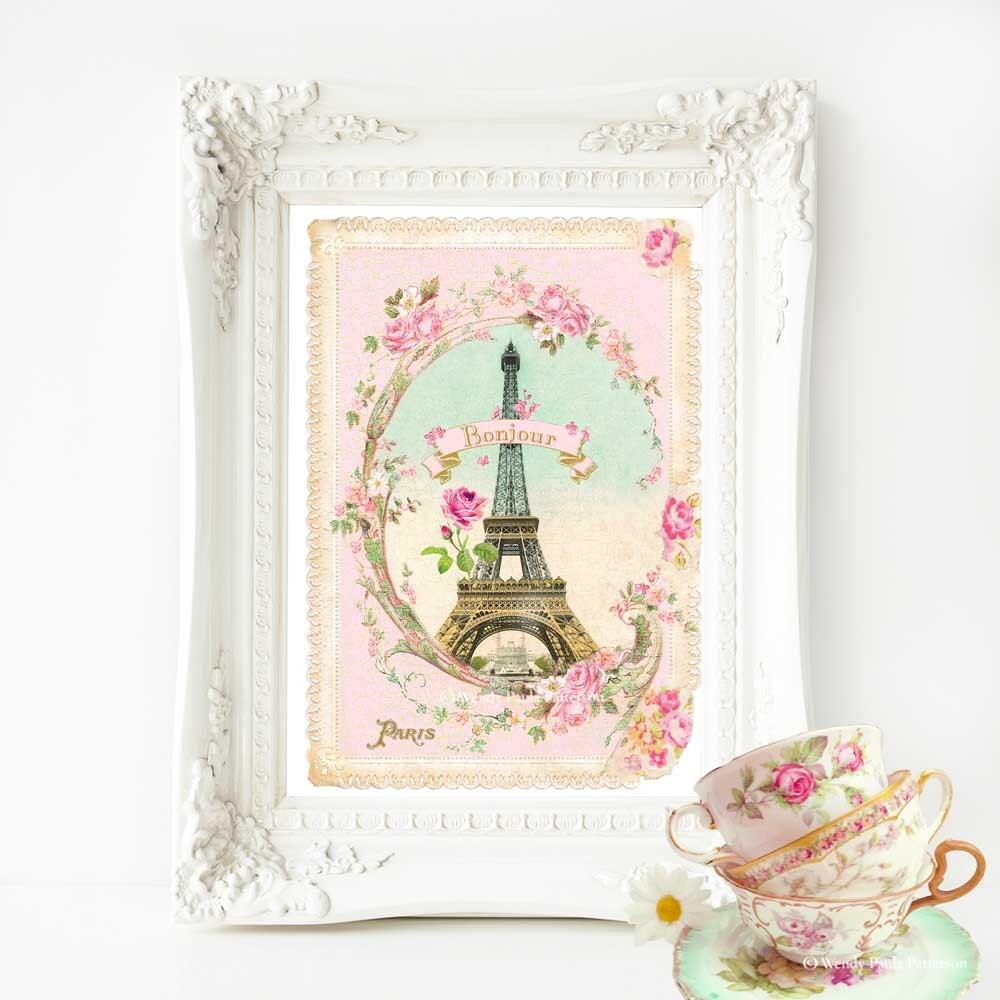 Eiffel Tower French Art Print Bonjour Paris Pink Vintage # Bonjour Muebles