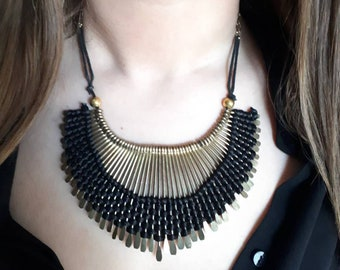 Original Gold and Black Bib style necklace
