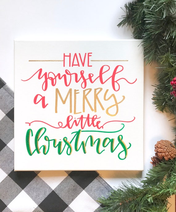 Have yourself a merry little christmas hand lettered sign like this item solutioingenieria Gallery