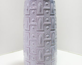 Vintage Carstens Tonnieshof E.3.30 Tall Geometric Pattern Ceramic Off White Floor Vase (World Series) Retro Fat Lava Relief West Germany