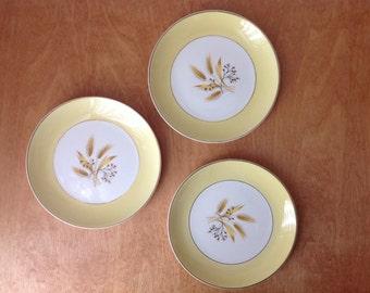Three Yellow Autumn Gold Pattern Plates made in Ohio USA