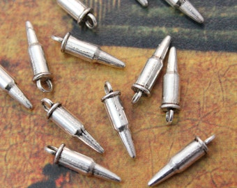 20 Tiny Bullet Charms Bullet Pendants Antiqued Tibetan Silver Double Sided 3D 3 x 12 mm