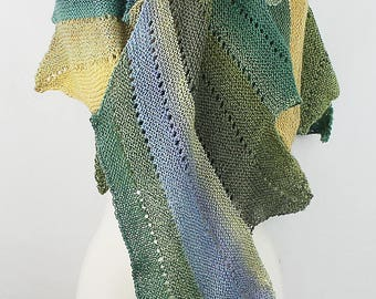 Light Weight Shawl in Greens and Blues