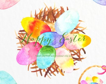 SALES!!! Watercolour Hand Painted Clip Art - Happy easter