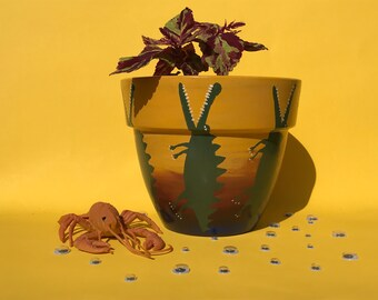 Hand Painted 16cm Terracotta Pot - Crocodiles/Sunset