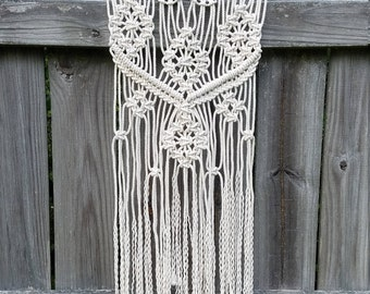 Medium size Macrame on Metal Wall Hanging with Medallion