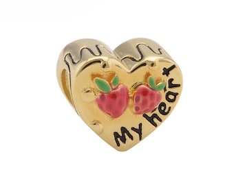 1 Gold Heart with Strawberries Bead Sterling Silver S925 Charm European Beads Fits Bracelets - 14X