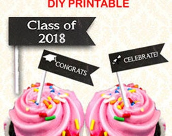 Graduation Party Food Flags, Printable Class of 2018 Straw Flags, DIY Grad Party Decorations, Chalkboard Flags Cupcake Toppers, Digital