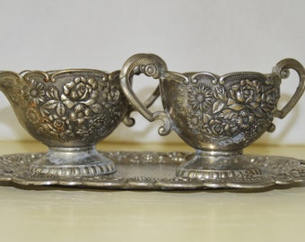 Enamel and Silverplated Cream and Sugar Set With Tray