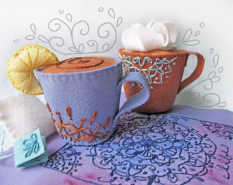Plush Pattern, I love Coffee and Tea Cup Plush Sewing Pattern PDF Download, Felt Ornaments, Pincushion, Mug, Felt Toys, Soft Toys