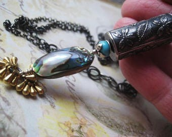 Boho Necklace, Anne Choi, Sterling SIlver, Mixed Metals, Abalone Shell Bead, Turquoise Bead, Oxidized Chain, candies64