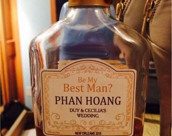 Custom Groomsman Liquor Labels for Weddings Best Man Dad Ushers - 7 labels