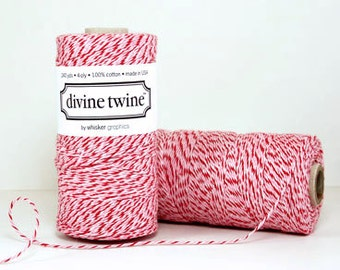 Peppermint DIVINE TWINE-240 yards- Christmas -(red, pink, and white)