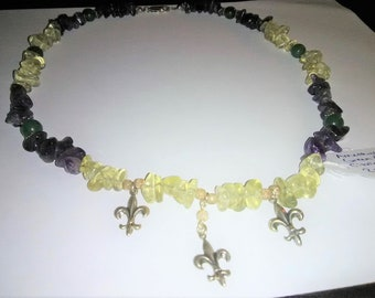 Amethyst, Green Aventurine, Citrine Fleur de Lis Sterling Silver Gemstone Necklace 20.25 inches long