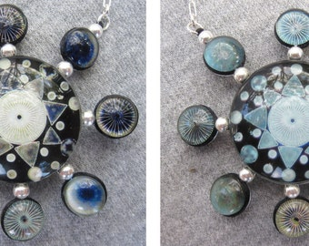 Diatom Art Double Sided Sterling Silver Necklace, Hand Made