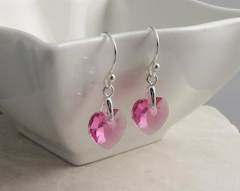 Rose PInk Crystal Heart Earrings - sterling silver,  Swarovski crystal, October birthstone