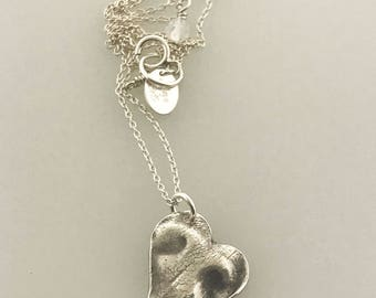 Doggie nose print SMALL heart charm necklace, custom dog print, dog or puppy nose print keepsake in pure, .999 fine silver