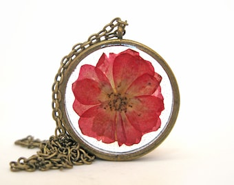 Red Rose Resin Pendant Necklace - Real flower encased in resin - Resin Jewelry - Pressed Flower Jewelry - Open Back Resin Pendant