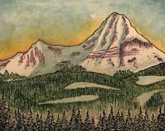 Engineer Mountain   Watercolor print   Mountain print   Colorado