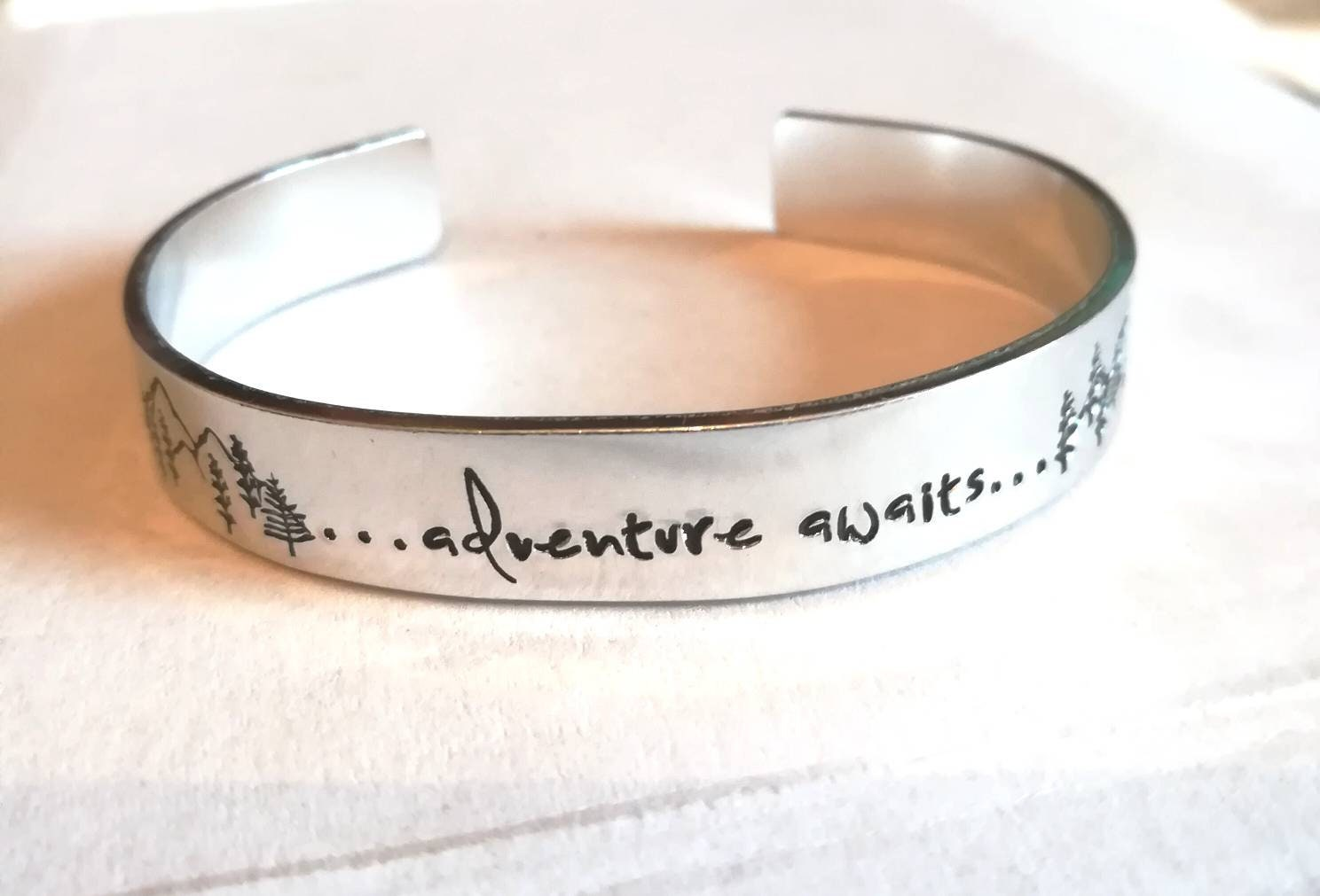 Adventure awaits bracelet, travel, hiking, nature, trees, mountains, handstamped cuff