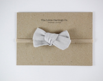 Hand Tied Hair Bow 100% Linen Small Schoolgirl in Grey // Clip or Band
