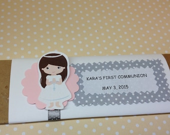 Girls 1st Communion Party Personalized Candy Bar Wrappers - Set of 10
