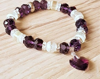 Violet Czech Crystal Beads Stretch Bracelet with Violet Crystal Heart