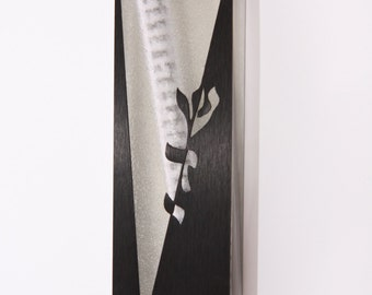 Modern Mezuzah case, crystal metal, decorative scroll, Judaica from Caesarea Arts, Israel, ARTech® Collection