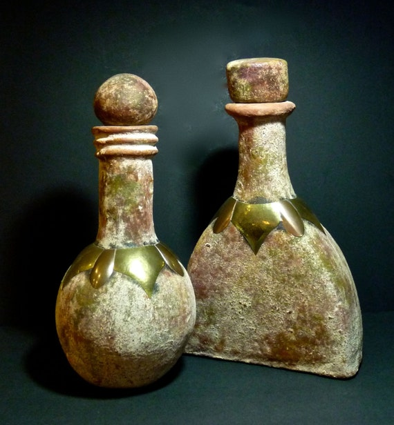 TERRACOTTA BOTTLES PAIR ~ Rustic Terracotta Jugs Trimmed In Brass And Copper ~ Large Pair Of Jug Stone Jars ~ Farmhouse  Cottage Chic