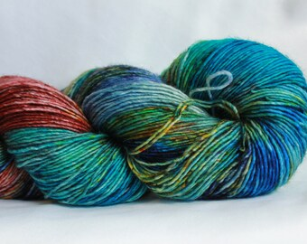 MIDNIGHT SPECIAL- Speckle dyed super wash merino single ply 100 grams (400yds) free shipping