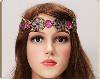 Pink Purple Gold Headband, Gatsby Headpiece, Lace Headband, Wedding Headband, Beaded Headpiece, Boho Headband, Bridal Headpiece,Gift for her