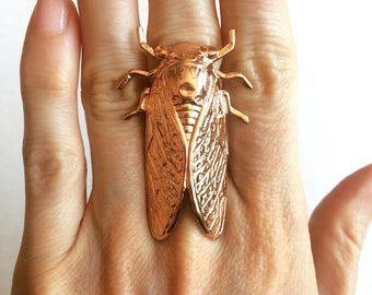 Cicada ring in Rose Gold cicada ring Cicada jewelry insect ring bug ring steampunk ring steampunk jewelry statement ring adjustable ring