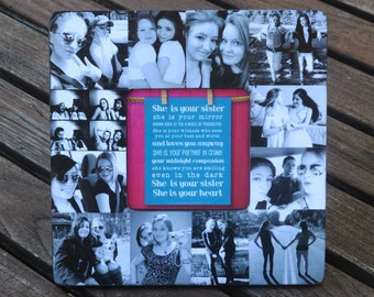 """Bridesmaid Picture Collage Frame, Personalized Sister Gift, Custom Collage Maid of Honor Frame, Best Friends Collage Frame, 8"""" x 8"""" Frame"""
