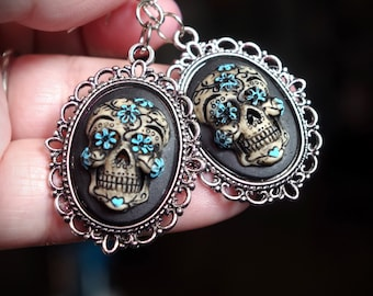 Pair Black and Blue Sugar Skull Day of the Dead Dia De Los Muertos Hand Made Sterling Silver Ear Wires Earrings