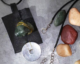 Pendant Necklace of Leather Stone and Silver