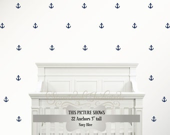Anchor Pattern Wall Decals | Nautical Kids Room | Nautical Nursery | Nautical Room Theme Ideas | Anchor Wall Art | Anchor Decals | Anchor