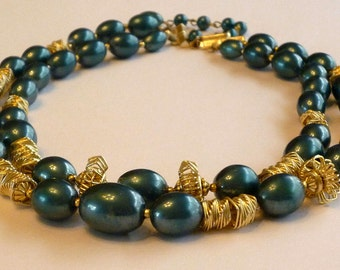 Vintage Blue and Gold Wire Bead Necklace Signed Hong Kong
