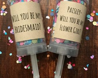 Confetti Push Pop, Confetti Popper, Bridesmaid Proposal, Flower Girl Proposal