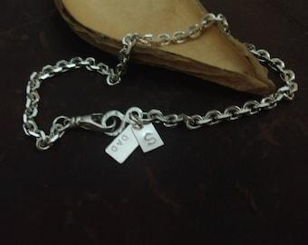 Mens Sterling Silver Chain Bracelet, Personalized Mens Bracelet, Mens Initial Bracelet, Mens ID Tag Bracelet, Bevel Chain Bracelet, Custom