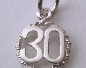 Genuine SOLID 925 STERLING SILVER 30 th birthday anniversary charm pendant