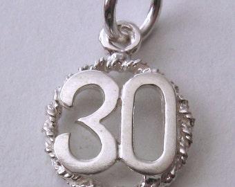 Genuine SOLID 925 STERLING SILVER 30 th birthday anniversary charm pendant