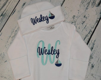 Personalized Newborn Gown and Cap set  Girls Sailboat Hospital Take Home Set