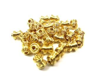 Vintage Gold Plated Coil Beads (30X) (B511)